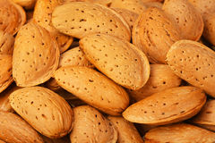 Dried almonds closeup, background Stock Photography