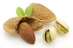 Dried almonds and pistachio Stock Photos