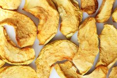 Dried apple chips. Raw food ideal for vegans and raw foodism.  Stock Photography