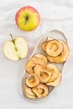 Dried apples. Dried apple slices in a handmade bowl and fresh apples stock photo