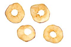Dried apples. Dried apple slices isolated on white with clipping path stock photography