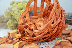 Dried apples. Delicious dried apples in a small wicker basket on a wooden table top scattered Stock Photo