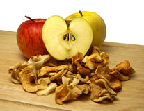 Dried apples and fresh ones Stock Image