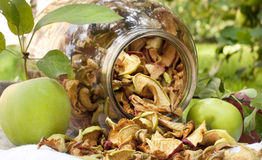 Dried apples from a glass jar Royalty Free Stock Photos