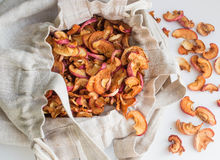 Dried apples in a linen bag Royalty Free Stock Image