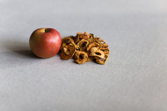 Dried apples on linen Royalty Free Stock Photos