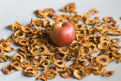 Dried apples on linen Royalty Free Stock Photography