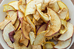 Dried apples. Dried sliced apples on a plate. Healthy food Royalty Free Stock Photo
