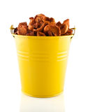 Dried apples in the yellow pail. Close up royalty free stock photos
