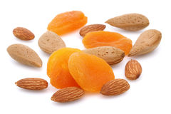 Dried Apricot, Almond and Shell almond Stock Photo