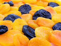 Dried apricot and black plum fruits Stock Photo