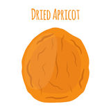 Dried apricot in cartoon flat style, vegetarian snack. Healthy organic food stock illustration