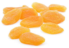 Dried apricot fruits on white Royalty Free Stock Images