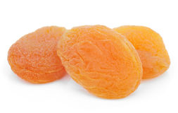 Dried apricot fruits on white Royalty Free Stock Photos