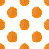 Dried apricot seamless pattern in cartoon flat style, vegetarian snack Stock Photography