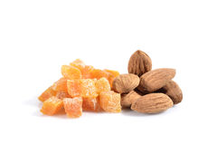Dried apricots and almods Royalty Free Stock Image