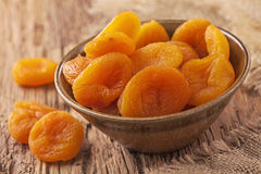 Dried apricots. In a bowl Stock Photo