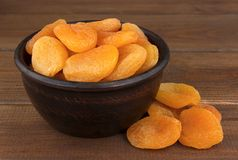Dried apricots in the bowl Royalty Free Stock Image