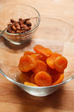 Dried apricots in the bowl Stock Images