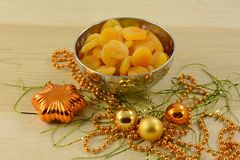 Dried apricots in bowl Royalty Free Stock Images
