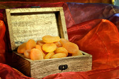 Dried apricots in box Royalty Free Stock Photos