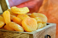 Dried apricots in box Stock Image
