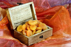 Dried apricots in box Royalty Free Stock Photo
