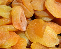 Dried Apricots. In closeup detail, at a stall in Jerusalem`s Mahane Yehuda market. Natural lighting Stock Photo