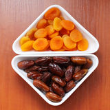 Dried apricots and dates Royalty Free Stock Photos