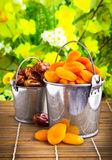 Dried apricots and dates in tin pail Royalty Free Stock Photos
