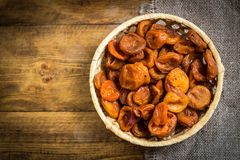 Dried apricots-dried apricot fruit royalty free stock photography
