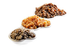 Dried apricots and figs isolated on white Stock Photography
