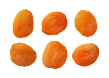 Dried apricots isolated on white background, close up Royalty Free Stock Photos