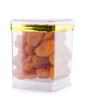 Dried apricots in jar on background Royalty Free Stock Photo