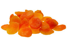 Dried apricots. Juicy dried apricots on a white background isolation Stock Images