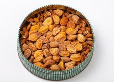 Dried apricots. Natural Dried apricot with a bone in a lot of useful sweet dessert stock photo