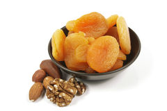 Dried Apricots and Nuts Royalty Free Stock Photos