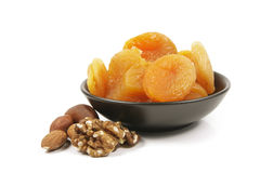 Dried Apricots and Nuts Stock Photography