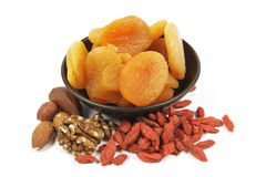 Dried Apricots with Nuts and Goji Berries Stock Images