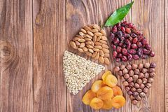 Mix of nuts, dried fruits stock photo