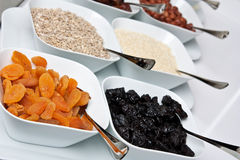 Dried apricots and others. Breakfast in reastaraunt with dried fruits Stock Photography