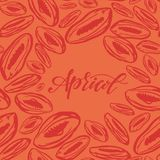 Dried apricots pattern on orange background. Seamless pattern with dried apricots on orange background. Cute doodle illustration royalty free illustration