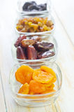 Dried apricots, raisins and dates Stock Photography
