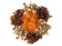 Dried apricots, raisins, nuts Stock Photos