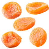 Dried apricots set isolated on white. Royalty Free Stock Image