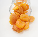Dried apricots on a white background Royalty Free Stock Photos