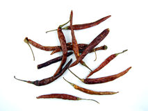 Dried arbol chilis. Dried Mexican chili peppers Royalty Free Stock Photo