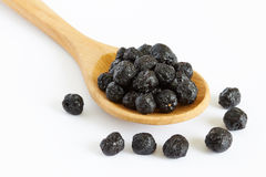Dried aronia berries. Chokeberries in wooden spoon  on white background Royalty Free Stock Image