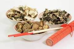 Dried Asia Mushrooms Stock Photos