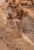 Dried autumn leafs in a bag Royalty Free Stock Image